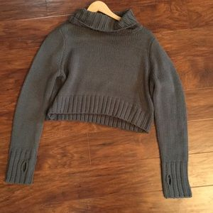 Cropped Gray Turtleneck Sweater